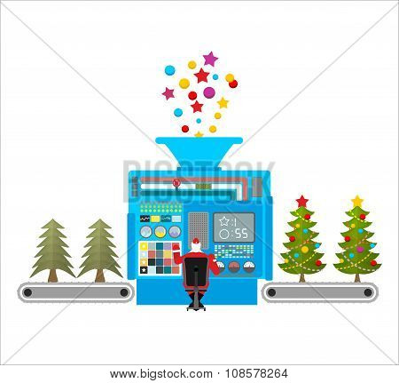 Factory machine for release of beautiful Christmas trees. Tree for new year with ball and star. Chri