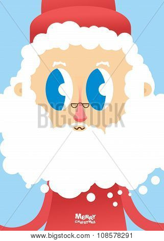 Santa Claus Face Close-up. Greeting Card For Christmas And New Year. White Beard And Glasses Accesso