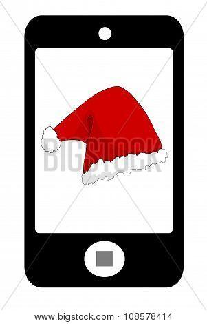 Smartphone with santa hat