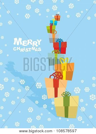 Tower Gifts And Snowfall. Happy Christmas. Many Beautiful Greeting Boxes With Bows With Ribbons. Pos