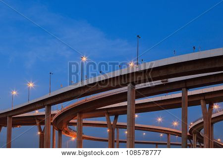 Concrete Construction Of Ring Road Bridge Ramp Against Beautiful Blue Sky