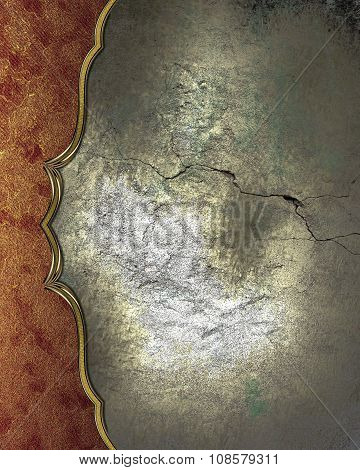 Cracked Wall With Red Edge. Element For Design. Template For Design. Copy Space For Ad Brochure Or A