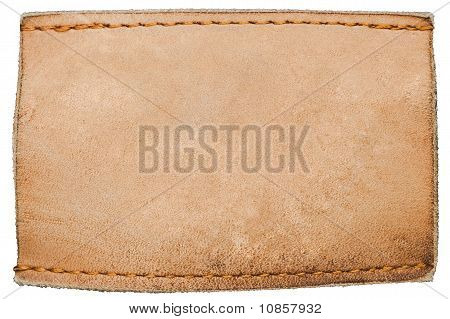 Blank Leather Jeans Label On White