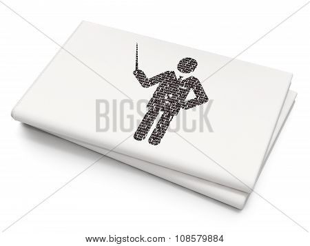Learning concept: Teacher on Blank Newspaper background