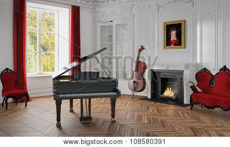 3D - Grand Piano - Classic Room