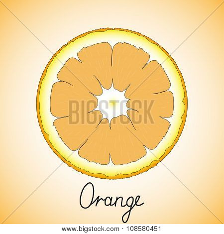 Fresh ripe slice of orange