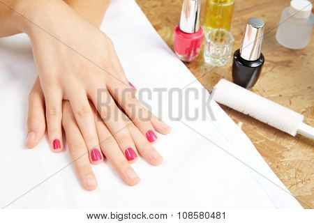 Before and after woman nails treatment in Nail Salon