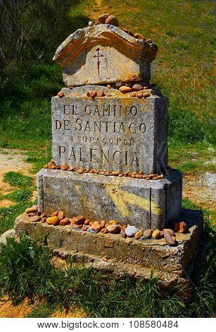 The way of saint James stone sign Palencia Spain