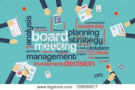 Board meeting abstract vector background with word cloud and management discussing big decisions aro