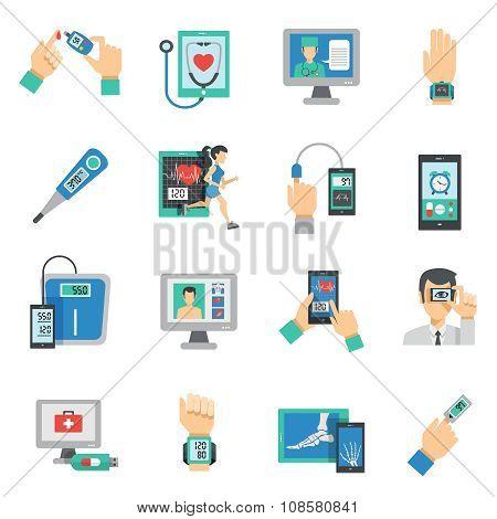 Digital Health Icons Flat Set