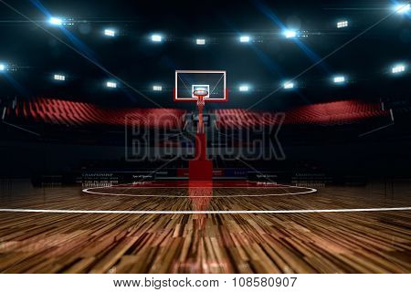 Basketball court. Sport arena. 3d render background.