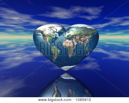 3D Render Of The Heart Shaped Planet Earth