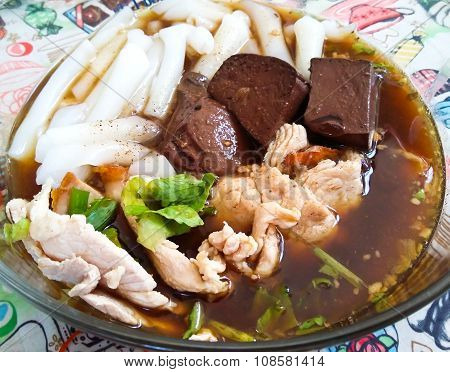Paste Of Rice Flour, Crunchy Pork Soup,thai Traditional Food