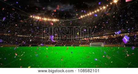 Night stadium arena soccer field championship win