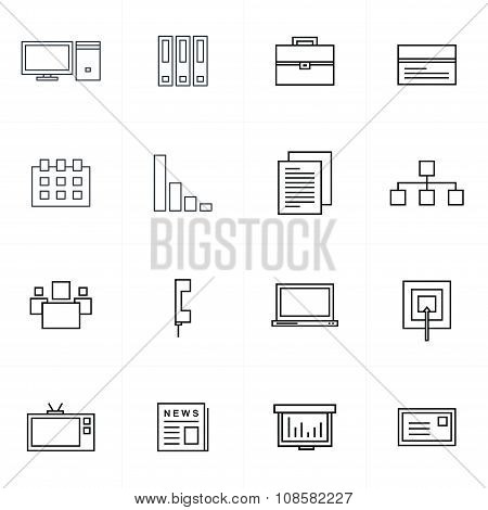 Office Icons Set Line Style