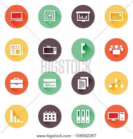 Office Icons Set Design Flat
