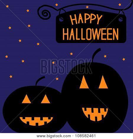 Two Big Pumpkins At Night. Happy Halloween Card.