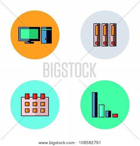 Computer, File, Calendar, Graph Icons Flat Design