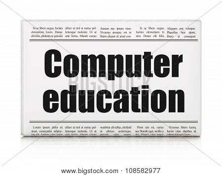 Education concept: newspaper headline Computer Education