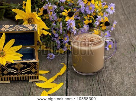 Bouquet Of Flowers, Cappuccino, Casket And Petals