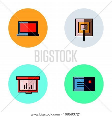 Laptop, Target, Graph, Mail Icons Flat Style
