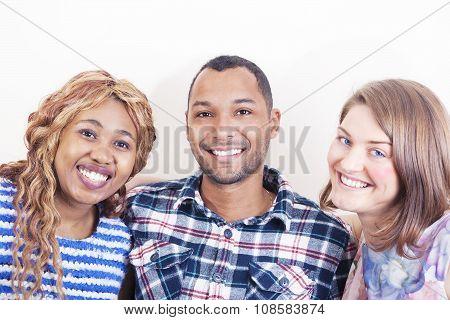 Cheerful Friends Hugging