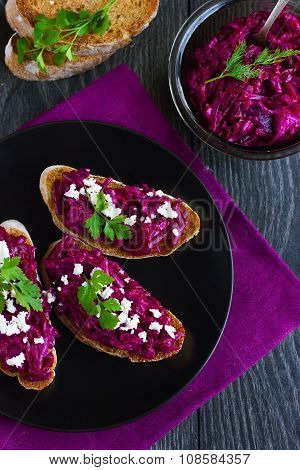 Bruschetta With Beetroot And Feta