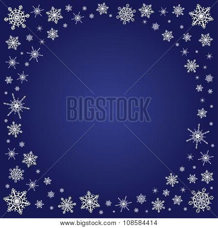 Square Deep Blue Background Snowflakes Frame