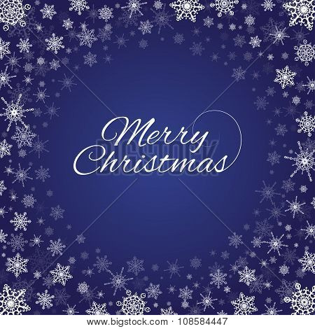 Merry Christmas Snowflakes Frame Deep Blue