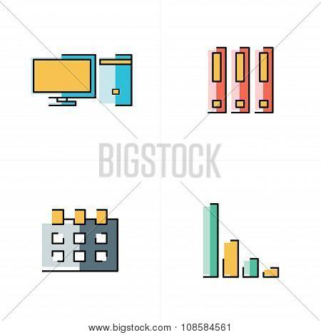 Computer, File, Calendar, Graph Icons Abstact Design
