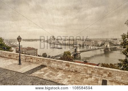 View Over Danube River In Budapest