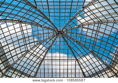 Glass Dome Roof Is Against The Blue Sky
