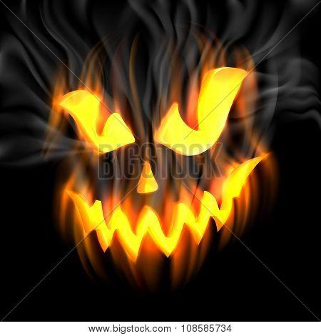 Jack-o-lantern In Smoke