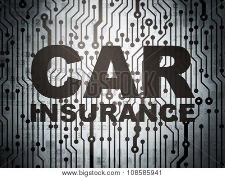 Insurance concept: circuit board with Car Insurance