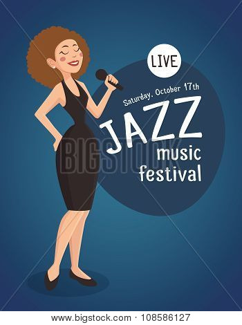 Woman Jazz Singer Illustration
