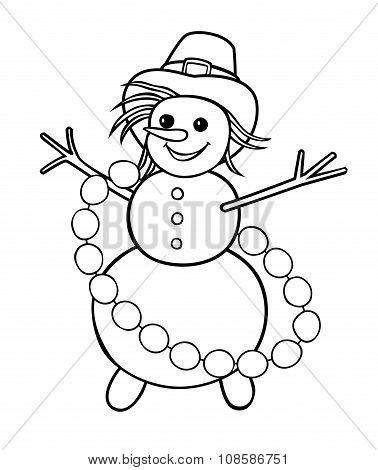 Snowman With Garland Of Snowballs