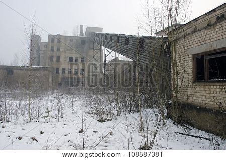 Desolate Industrial Soviet Factory In Winter