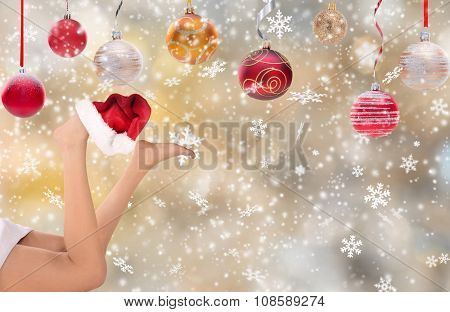 woman legs with santa cap