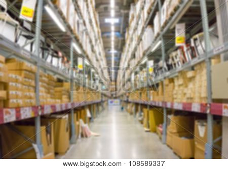 Blur Image Of A Warehouse