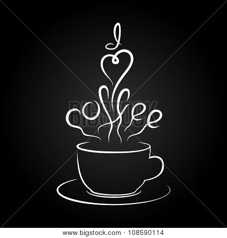 Vector Illustration Of Coffee Cup Silhouette And Lettering  I Love Coffee.