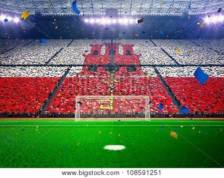 Flag Gibraltar of fans. Evening stadium arena Blue