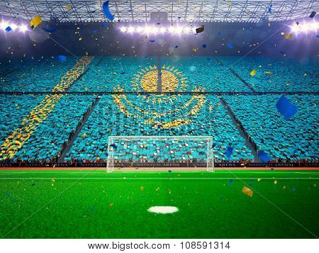 Flag Kazakhstan of fans. Evening stadium arena Blue
