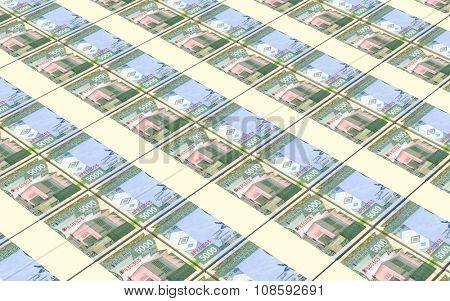 Burundian francs bills stacked background. Computer generated 3D photo rendering.