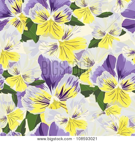 Set Of Flowers Pansies With Leafs In Realistic Hand-drawn Style