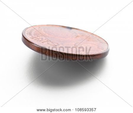 Five cent coin isolated on white background