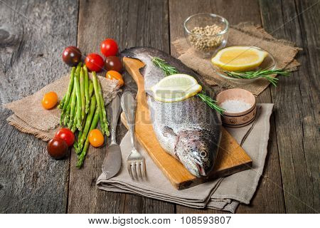 Fresh Trout With Vegetables, Spices And Seasoning