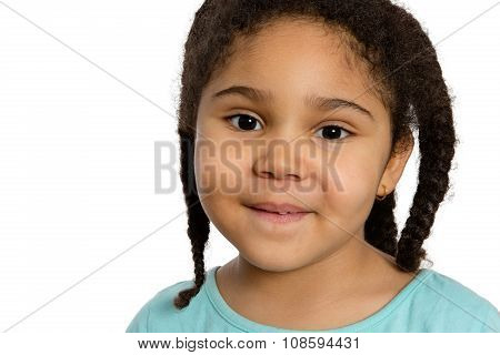 Close Up Four Year Old Girl Smiling At You