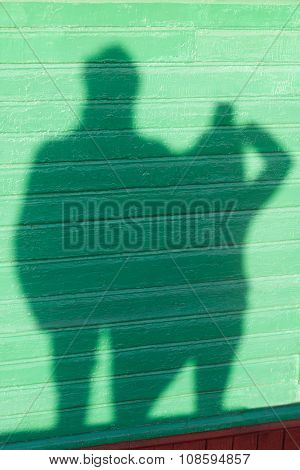 Shadows of 2 people on green wall background.People shadows on a wall, artistic photo. People shadow