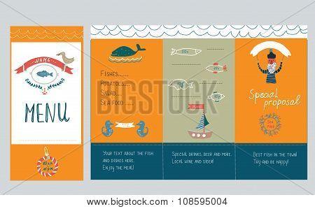 Fish Restaurant Menu Design - Hand Drawn Illustration