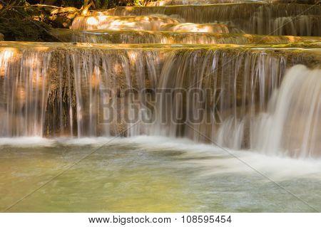 Beautiful stream water falls close up